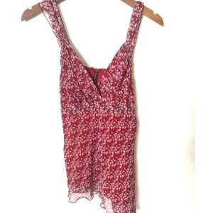 Star city red cami sheer overlay top size L